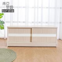 【南亞塑鋼】4尺拉門/推門塑鋼坐式鞋櫃/穿鞋椅(白橡色+白色)
