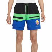NIKE S M NSW HYPERFLAT WVN SHORT 短褲 拼接 可愛圖案 黑藍綠 男生【DM7919-011】