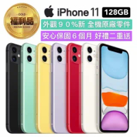 【Apple 蘋果】福利品 iPhone 11 128G 6.1吋 智慧型手機(全機原廠零件+好禮二重送)