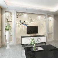 中式花鳥電視背景牆壁紙客廳臥室裝飾牆紙簡約現代8d壁畫影視牆布