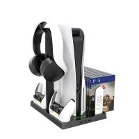 PS5主機散熱底座帶碟片收納架PS5手柄雙座充耳機收納支架HBP-271