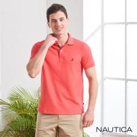 【NAUTICA】簡約素色吸濕快乾短袖POLO衫(橘紅)