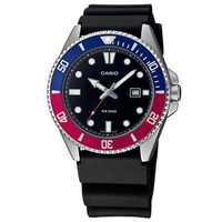 【CASIO 卡西歐】潛水錶 劍魚 槍魚系列 水鬼 防水200米 日期 橡膠手錶 紅藍色 44mm(MDV-107-1A3)