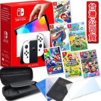 【Nintendo 任天堂】Switch OLED 白色主機+精選遊戲一片(收納包+保護貼+果凍套+卡帶匣)