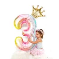 2 ชิ้น/เซ็ต 32 หมายเลขสายรุ้งฟอยล์บอลลูนมงกุฎทองยูนิคอร์นฟอยล์บอลลูนเด็กวันเกิดครบรอบมงกุฎ...