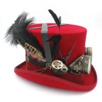 100%ผ้าขนสัตว์DIY FedoraหมวกSteampunkด้านบนหมวกผู้หญิงอบไอน้ำพังก์เกียร์fedorasหมวกสำหรับผู้ชายหมวกS Teampunkแว่...