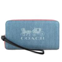 【COACH】大馬車LOGO牛仔布款ㄇ型拉鍊手機包x長夾(單寧藍色)