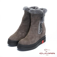 【CUMAR】率性柔美-毛圈厚實感內增高厚底雪靴(寧靜灰)
