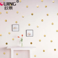 100pcs/set 3D Little Polka Circle Acrylic Mirror Surface Wall Sticker Kids Room Decoration Wallpaper Removable Round Wall Decals