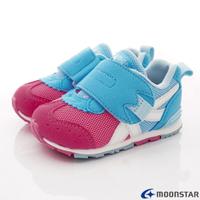 ★日本月星Moonstar機能童鞋HI系列寬楦頂級學步鞋款1504粉藍(寶寶段)