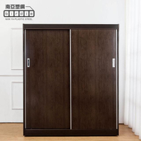 【南亞塑鋼】5.5尺二推/拉門塑鋼衣櫃(胡桃色)