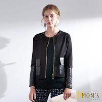 【MON'S】休閒拼接羊皮外套