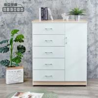 【南亞塑鋼】3.3尺五抽單門塑鋼斗櫃/收納櫃/置物櫃(白橡色+白色-合金把手)
