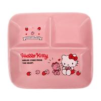 小禮堂 Hello Kitty 方形三格陶瓷餐盤 分隔餐盤 微波餐盤 午餐盤 便當盤 強化瓷 (粉 草莓)