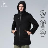 【Chamois】100%天然羊毛保暖連帽大衣(經典黑)