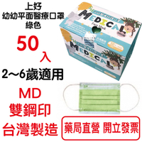上好 幼幼平面醫療口罩 2~6歲 50入裝 防疫口罩 幼童醫用口罩 台灣製造MIT MD雙鋼印