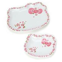 日本製 十四松商店 凱蒂貓 Kitty 陶瓷盤 水果盤 沙拉盤 頭型 櫻花 2款 日本進口正版 476315