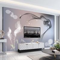 電視背景墻壁紙8d簡約現代個性煙霧壁畫客廳大氣影視墻紙裝飾墻布