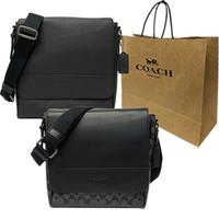 【COACH】專櫃款經典LOGO掀蓋男款斜背包贈紙袋(多色選一)