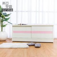 【南亞塑鋼】4尺拉門/推門塑鋼坐式鞋櫃/穿鞋椅(白色+粉紅色)