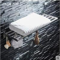 304不銹鋼拉絲浴巾浴室單層毛巾架免打孔摺疊壁掛衛生間置物架 8號時光