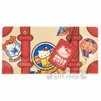 小禮堂 Hello Kitty 雙開式票據收納夾《棕紅.行李箱》資料夾.票據夾.銅板小物