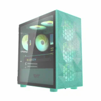【darkFlash】DLM21 Mesh M-ATX 電腦機殼/機箱 鐵網版-薄荷綠 不含風扇(DF01-0027/GPU:330mm/CPU:160mm)