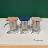 Swanlace精選 304不銹鋼內膽濾網高硼硅耐熱玻璃花茶杯泡茶玻璃杯