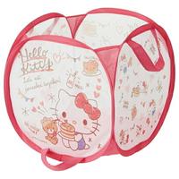 小禮堂 Hello Kitty 透氣網狀折疊洗衣籃 污衣籃 玩具籃 雜物籃 (紅白 鬆餅)