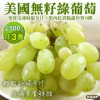 【WANG 蔬果】美國綠寶石麝香無籽葡萄(3盒_500g/盒)