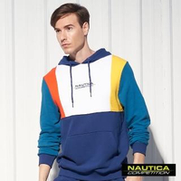 【NAUTICA】COMPETITION撞色拼接連帽長袖T恤(藍綠)