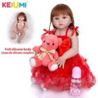KEIUMI 23 Inch Reborn Boneka Bayi Menina Full Body Silikon Lucu Putri Girl Newborn Boneka Bonecas untuk Pendidikan Hadiah DIY mainan