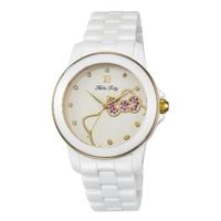 【HELLO KITTY】凱蒂貓甜心夢幻陶瓷手錶(白/玫瑰金 LK673LWWI-K)