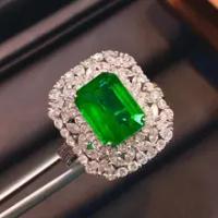 100% ธรรมชาติ 2.94ct แซมเบีย Emerald แหวนครบรอบเพชรสีขาว 14 K สีขาวทองเครื่องประดับสำหรับผู้หญิง