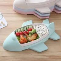 4 Colors Creative Children Dish Cartoon Airplane Division Design Tableware Kids Dinnerware Food Bowl Grid Box for Toddler