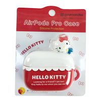 小禮堂 Hello Kitty Apple Airpods Pro 造型矽膠保護殼 藍牙耳機盒 保護套 (紅白 趴姿)