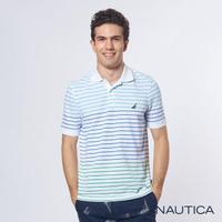 【NAUTICA】漸層條紋吸濕排汗短袖POLO衫(白)