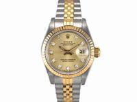 ROLEX錶 勞力士 69173 自動 原裝十鑽面盤 中金 女錶 26mm 編號H27255