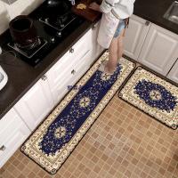 【爆款 現貨 優惠】熙霖創意生活館💕💕💕水晶絨 歐式   歐式寶藍色花卉金黃色邊 地毯 組合入門墊 臥室地毯 長條