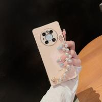 高級感輕奢直邊電鍍水鉆珍珠手鏈適用華為mate40手機殼mate30女神閨蜜款pro全包鏡頭軟硅膠防摔保護套新款5G