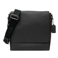【COACH】專櫃款經典LOGO掀蓋男款斜背包(黑)
