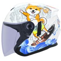 M2R FR-2 安全帽 FR2 3 柴犬 白 內襯可拆 內藏墨鏡 半罩《比帽王》