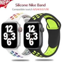 สายซิลิโคนสำหรับ Apple Watch Band 40 44 42มม.38มม.Smartwatch สร้อยข้อมือกีฬา IWatch Series 6 Se 5 4 3 2 1Breathable เข็มขัด