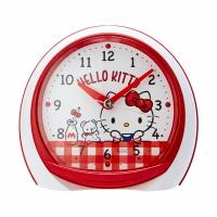 小禮堂 Hello Kitty LED塑膠圓形鬧鐘 貪睡鬧鐘 指針鬧鐘 桌鐘 時鐘 (紅 格紋)