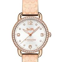 刷卡滿3千回饋5%點數 COACH 水晶手鐲logo錶帶女腕錶/玫瑰金/14502767