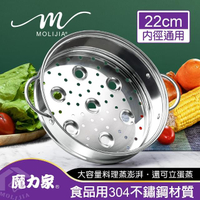 【MOLIJIA 魔力家】M2209-304不鏽鋼蒸籠(蒸籠/22cm內徑通用)