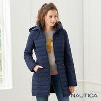 【NAUTICA】女裝防潑水保暖修身長版外套(深藍)