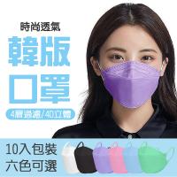 【格麥蛋糕】彩色韓版KF94成人立體口罩40入(10入*4袋/4D立體/防飛沫/防塵/防疫/防護)