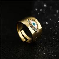 การออกแบบคลาสสิก Evil Eye Charm แหวนทองสีสายรุ้ง CZ แหวนอุปกรณ์เสริมหญิง Dropship
