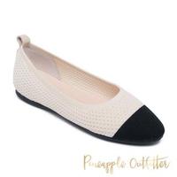 【Pineapple Outfitter】FANTASIA 可愛針織圓頭娃娃鞋(米杏色)